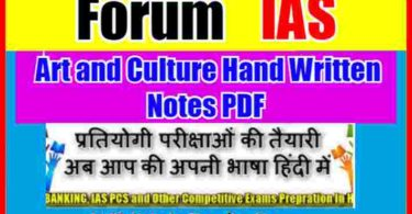Forum IAS Art and Culture Hand Written Notes PDF