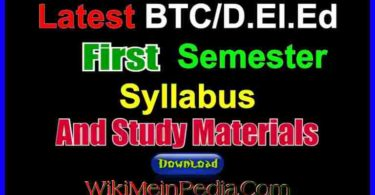 BTC / D.el.ed First Semester Syllabus