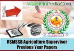 RSMSSB Agriculture Supervisor Previous Year Papers Pdf