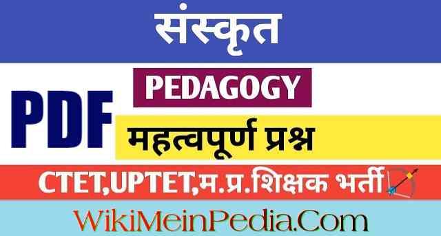 UPTET CTET Sanskrit Pedagogy
