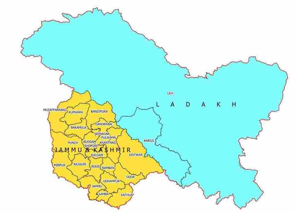 Jammu Kashmir Ladakh Political Map Pictures in Hindi PDF