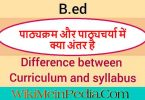 Difference Between Syllabus and Curriculum