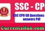 SSC CPO GK Questions and answers Pdf in Hindi