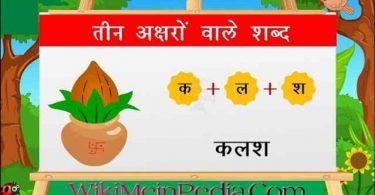 Teen Akshar Wale Shabd – तीन अक्षर वाले शब्द चित्र सहित